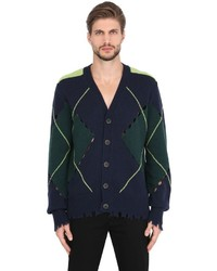 MSGM Argyle Distressed Wool Knit Cardigan