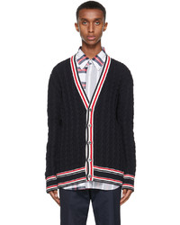 Thom Browne Navy Heritage Cable Rwb Stripe Relaxed Fit Cardigan