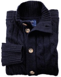 Charles Tyrwhitt Navy Lambswool Cable Knit Cardigan