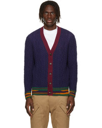 Etro Navy Wool Cable Knit Cardigan