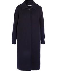 Oversized knit trimmed wool blend coat navy medium 5173023