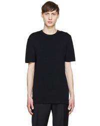 Navy Knit Crew-neck T-shirt