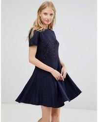 Deby Debo Alina Knit Skater Dress Blue