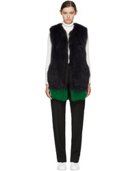 Navy and green knit fur vest medium 5082476