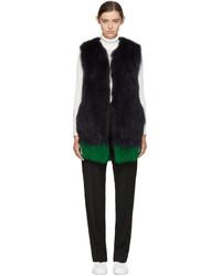 Navy green knit fur vest medium 5082476