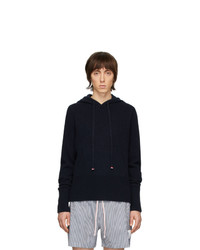 Thom Browne Navy Cashmere Over Washed Hoodie