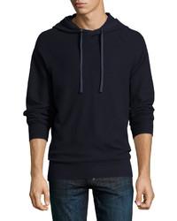 Waffle knit cotton pullover hoodie navy medium 655170