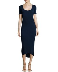 Navy Knit Midi Dress