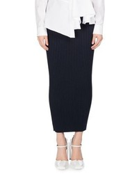 Kenzo Bodycon Rib Knit Wool Midi Skirt Navy