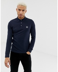 BOSS Passerby Slim Fit Long Sleeve Logo Polo In Navy