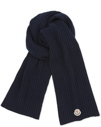 Moncler Cashmere Solid Ribbed Knit Scarf