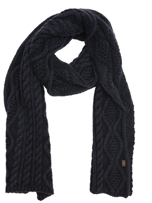 2802bcacd06 Gucci Green Cable Knit Wool Scarf