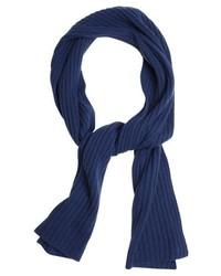 Portolano Light Grey Cashmere Ribbed Knit Scarf