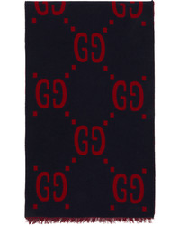 Gucci Navy Red Jacquard Gg Scarf