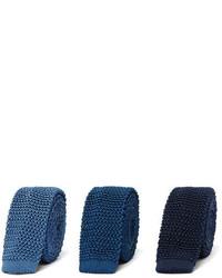 Charvet Set Of Three 45cm Knitted Silk Ties