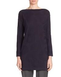 Silk wool jacquard circle knit tunic medium 753575