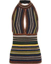 Missoni Metallic Ribbed Crochet Knit Halterneck Top Blue