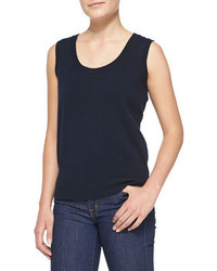 Sleeveless cashmere top navy medium 88935