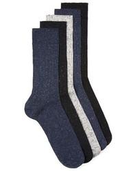 Topman Neppy Knit 5 Pack Socks