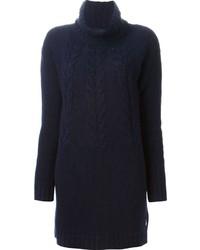Navy Knit Sweater Dress