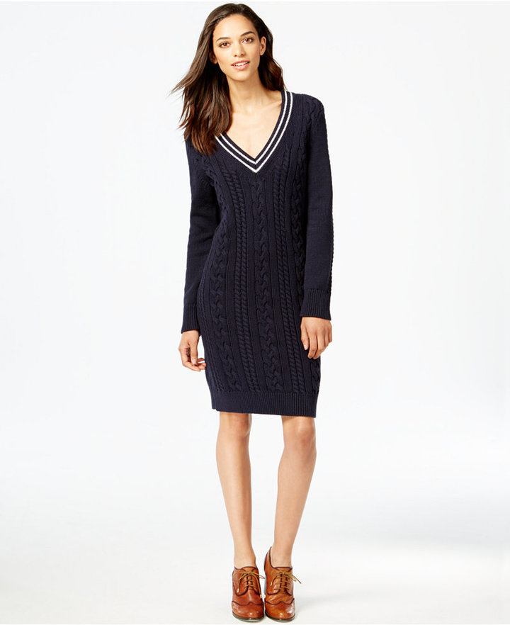 aaec58cb8bf ... Navy Knit Sweater Dresses Tommy Hilfiger Cable Knit V Neck Sweater Dress  ...