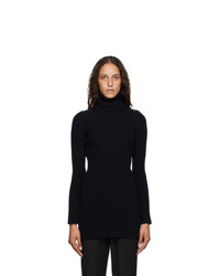 Saint Laurent Navy Ribbed Turtleneck Dress