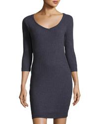 Three Dots Ribbed Raglan Sweater Dress