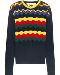 Marni Pointelle Knit Cotton Blend Sweater Navy