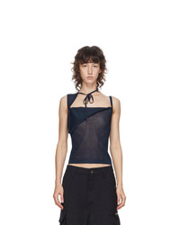 Maryam Nassir Zadeh Navy Sheer Knit Tank Top