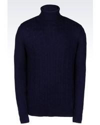 Armani Jeans Cable Knit Turtleneck Jumper In Viscose Blend