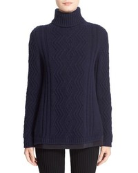 Braid knit wool cashmere turtleneck sweater medium 577940