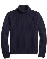 Brooks brothers saxxon wool cable turtleneck medium 343051