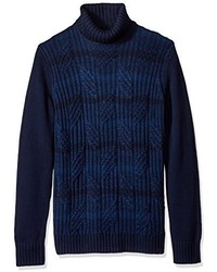 Calvin Klein Ombre Stripe Cable Knit Turtleneck Sweater