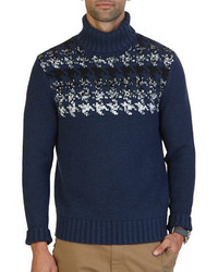 Nautica Engineered Houndstooth Turtleneck Sweater
