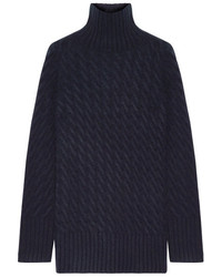 The Row Landi Cable Knit Cashmere Turtleneck Sweater Midnight Blue