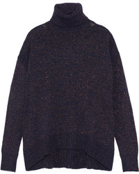 Metallic knitted turtleneck sweater midnight blue medium 4394066