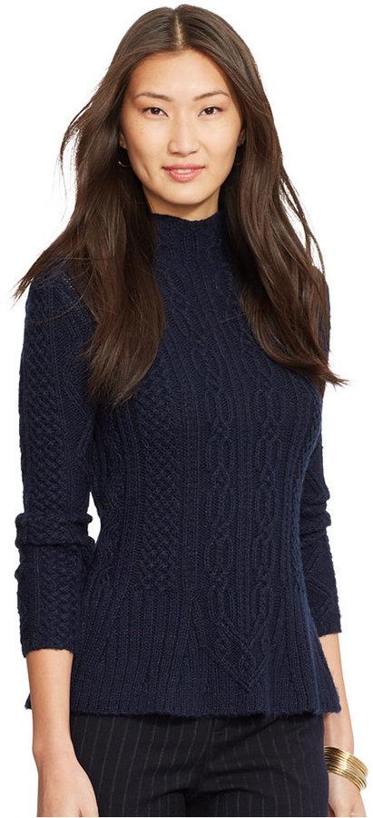 Lauren Ralph Lauren Mock Turtleneck Cable Knit Peplum Sweater