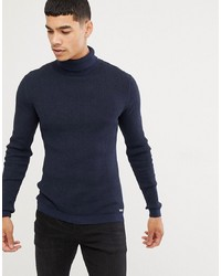 Esprit Rib Knit Muscle Fit Roll Neck Jumper In Navy