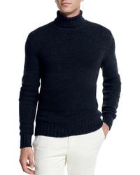 Loro Piana Textured Baby Cashmere Turtleneck Sweater