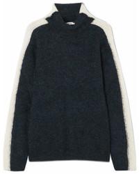 Evangelista striped knitted turtleneck sweater navy medium 6993296