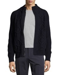 Salvatore Ferragamo Gancini Cable Knit Wool Cashmere Zip Front Sweater Navy