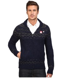 Scotch & Soda Zip Thru Cardigan In Chunky Slub Yarn Knit Sweater