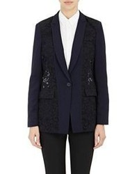 Rebecca Taylor Corded Lace Blazer Black Size 10 Us