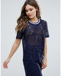 B.young Lace Top With Contrast Trim