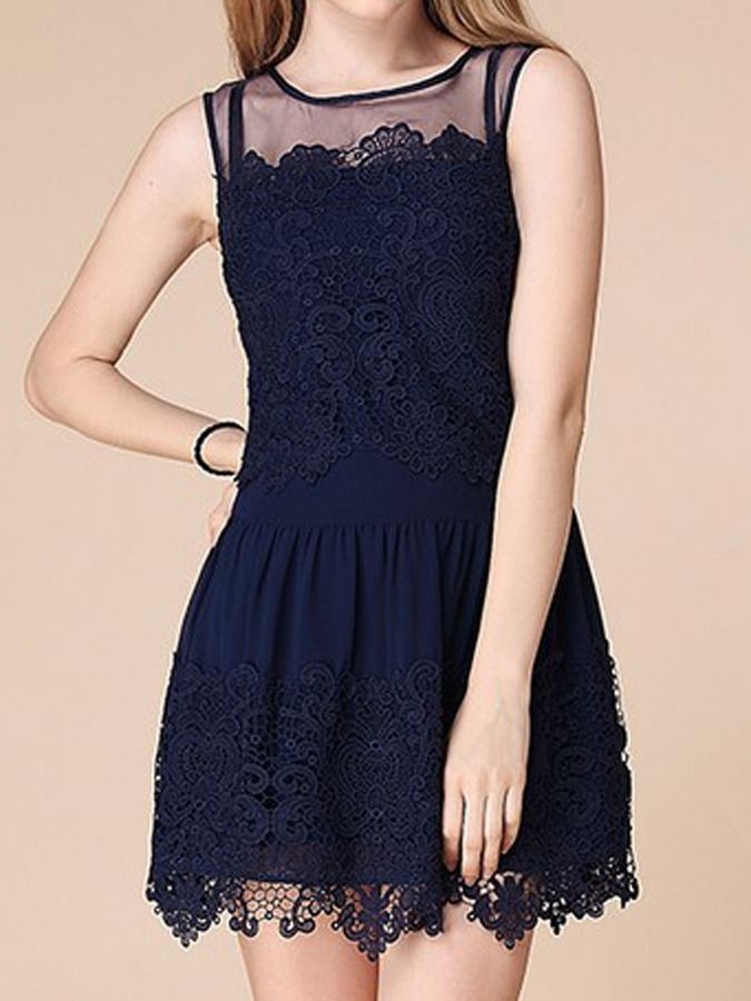 9d7a504dc06 ... Navy Lace Casual Dresses Choies Dark Blue Mesh Shoulder Lace Dress ...
