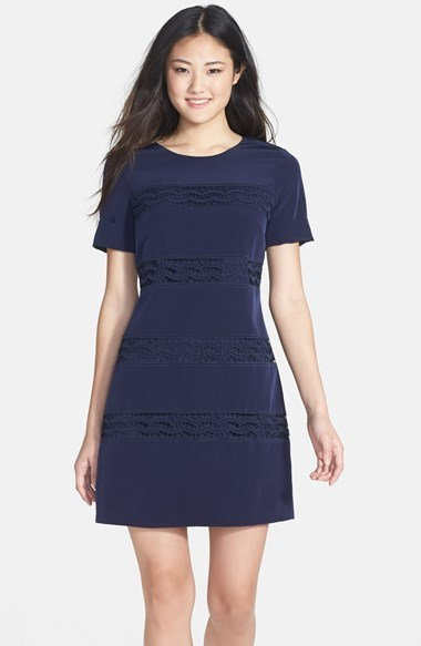 Navy Lace Casual Dresses Jessica Simpson Inset Short Sleeve Shift Dress
