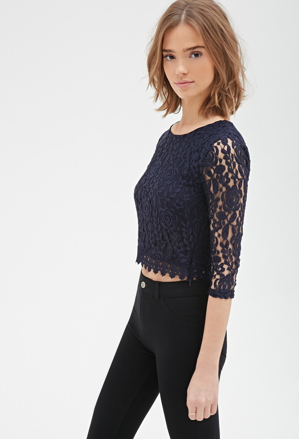 Forever 21 Crochet Trim Lace Top 17 Forever 21 Lookasticcom