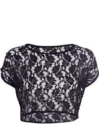 Navy lace sequin embellished crop top medium 89715