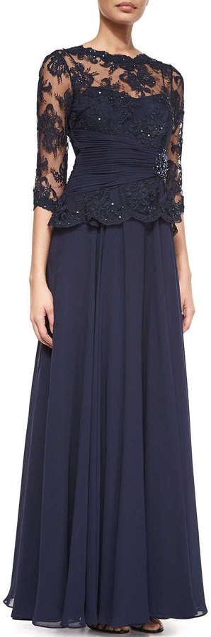 d2623633b601f ... Navy Lace Evening Dresses Rickie Freeman For Teri Jon 34 Sleeve Lace  Chiffon Peplum Gown ...