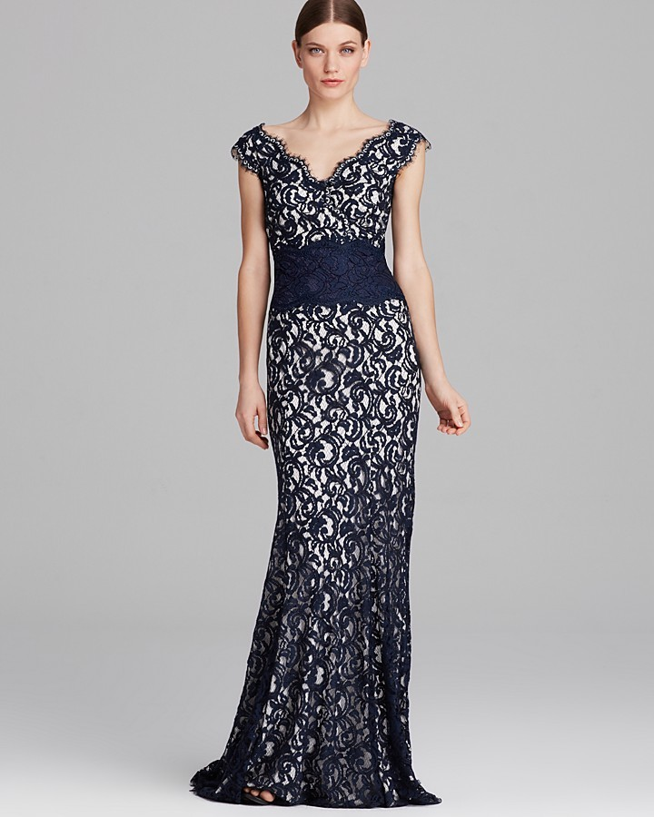 Tadashi Shoji Gown Double V Neck Banded | Where to buy & how to wear